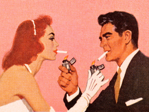 Couple Lighting Each Others Cigarette