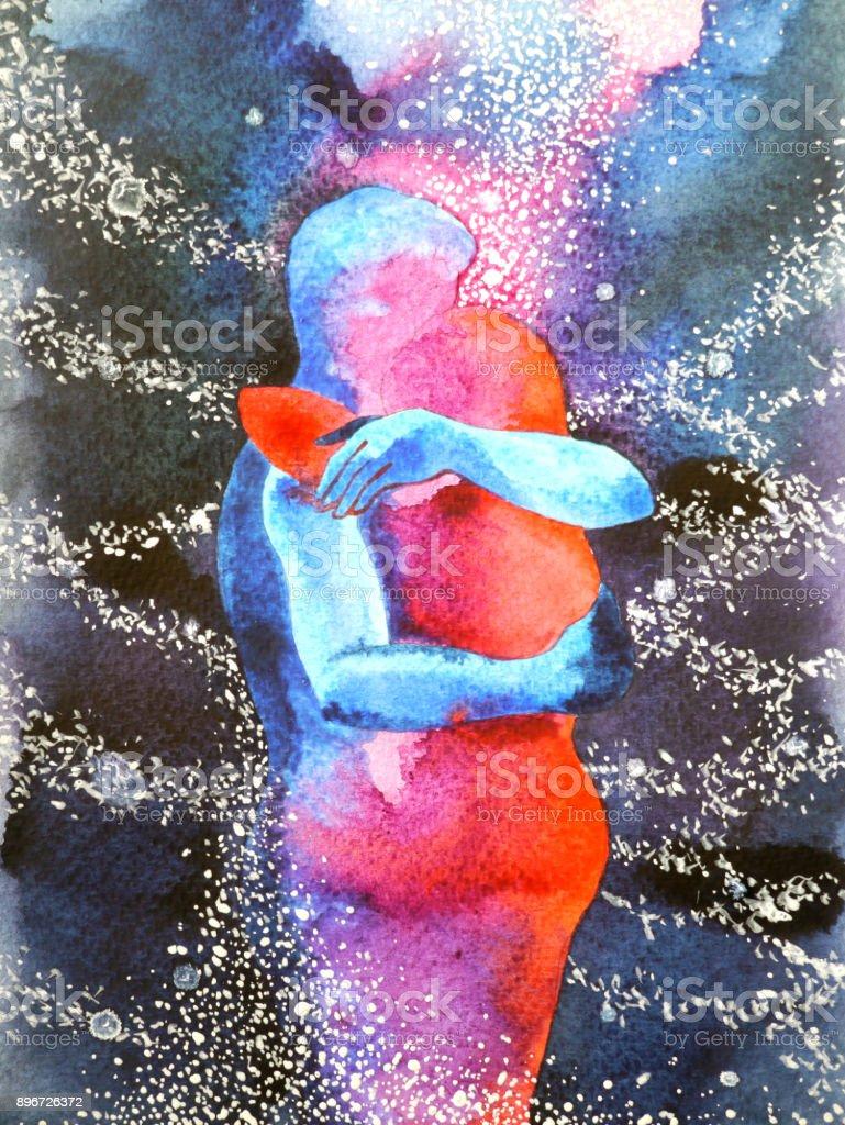 amante de la pareja abrazándose en mente libre abstracto universo, dentro de su mundo acuarela diseño ilustración experiencia - ilustración de arte vectorial