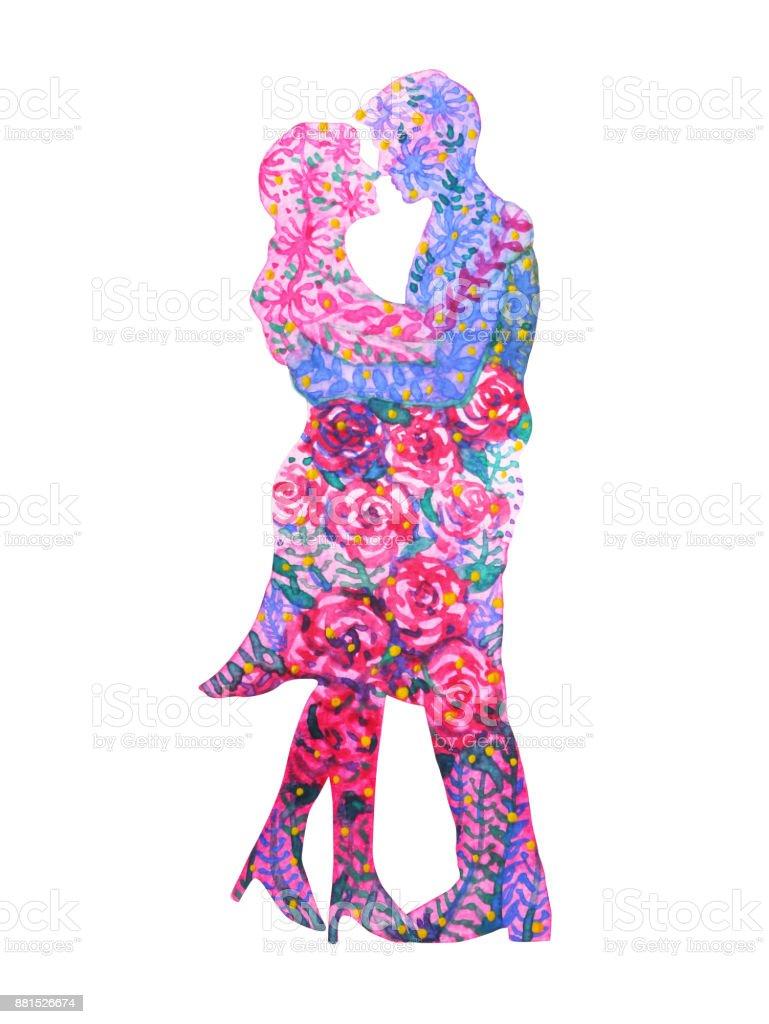 Couple Amoureux Aquarelle Peinture Romantique Fleur Floral Forme