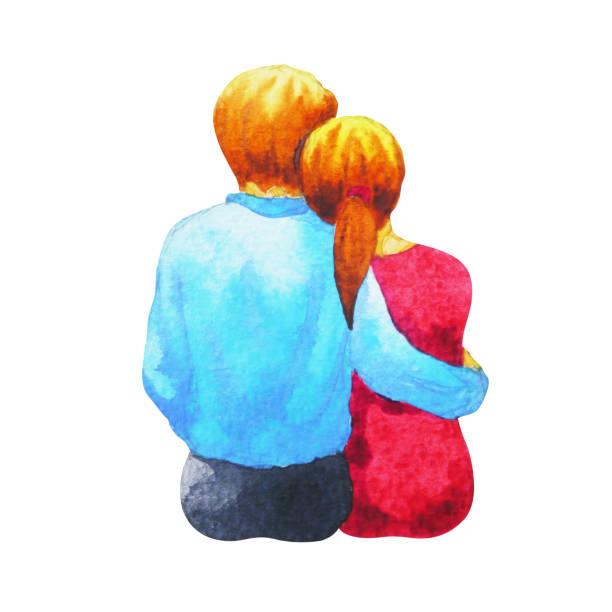 bildbanksillustrationer, clip art samt tecknat material och ikoner med par älskare akvarellmålning romantisk sitter tillsammans hand dras - young couple