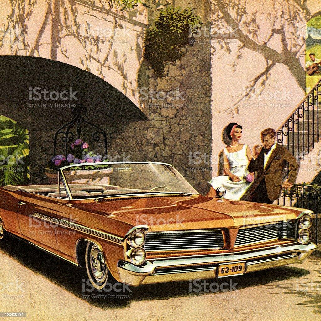 Couple Next to Orange Convertible Car royalty-free stock vector art