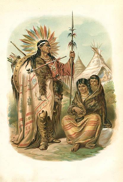 Couple of native American Ethnicity plains Indians 1880 - ilustração de arte em vetor