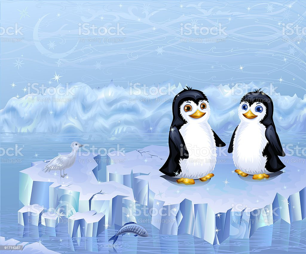 Couple of penguins royalty-free stock vector art