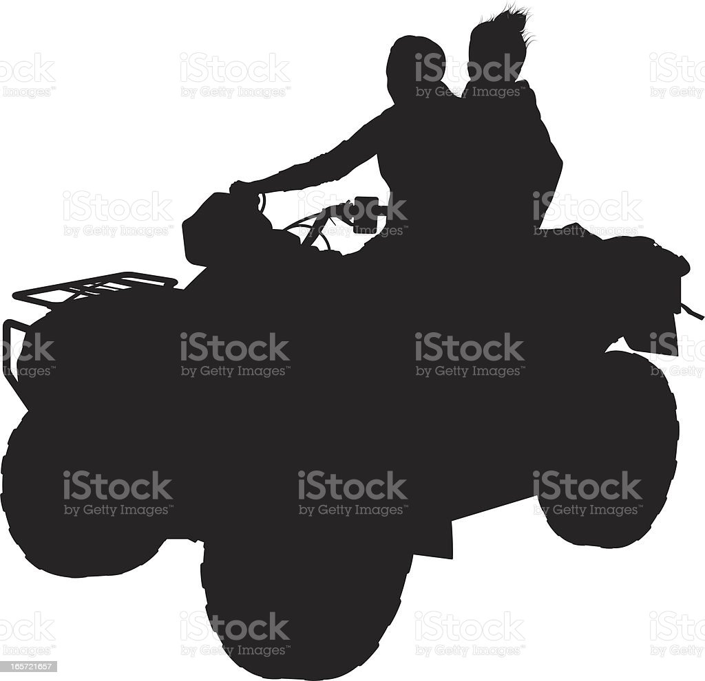 Couple on an atv royalty-free stock vector art
