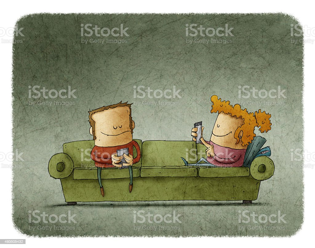 Couple on the couch addicted to smartphones vector art illustration