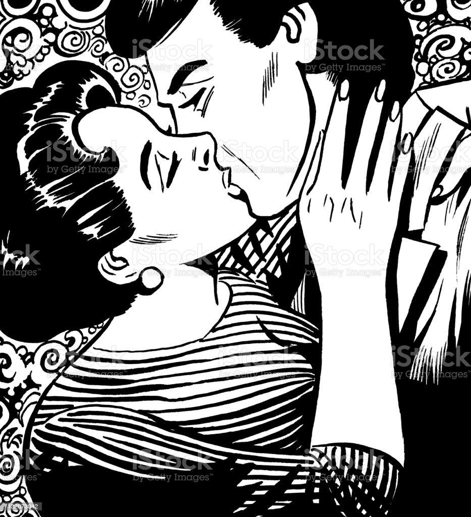 熱心にカップルのキス のイラスト素材 132073042 | istock