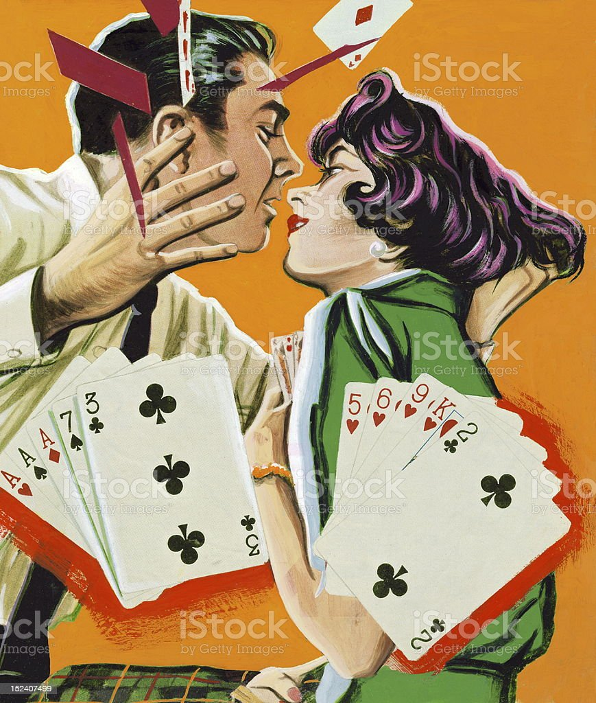 Couple Playing Cards and About to Kiss vector art illustration