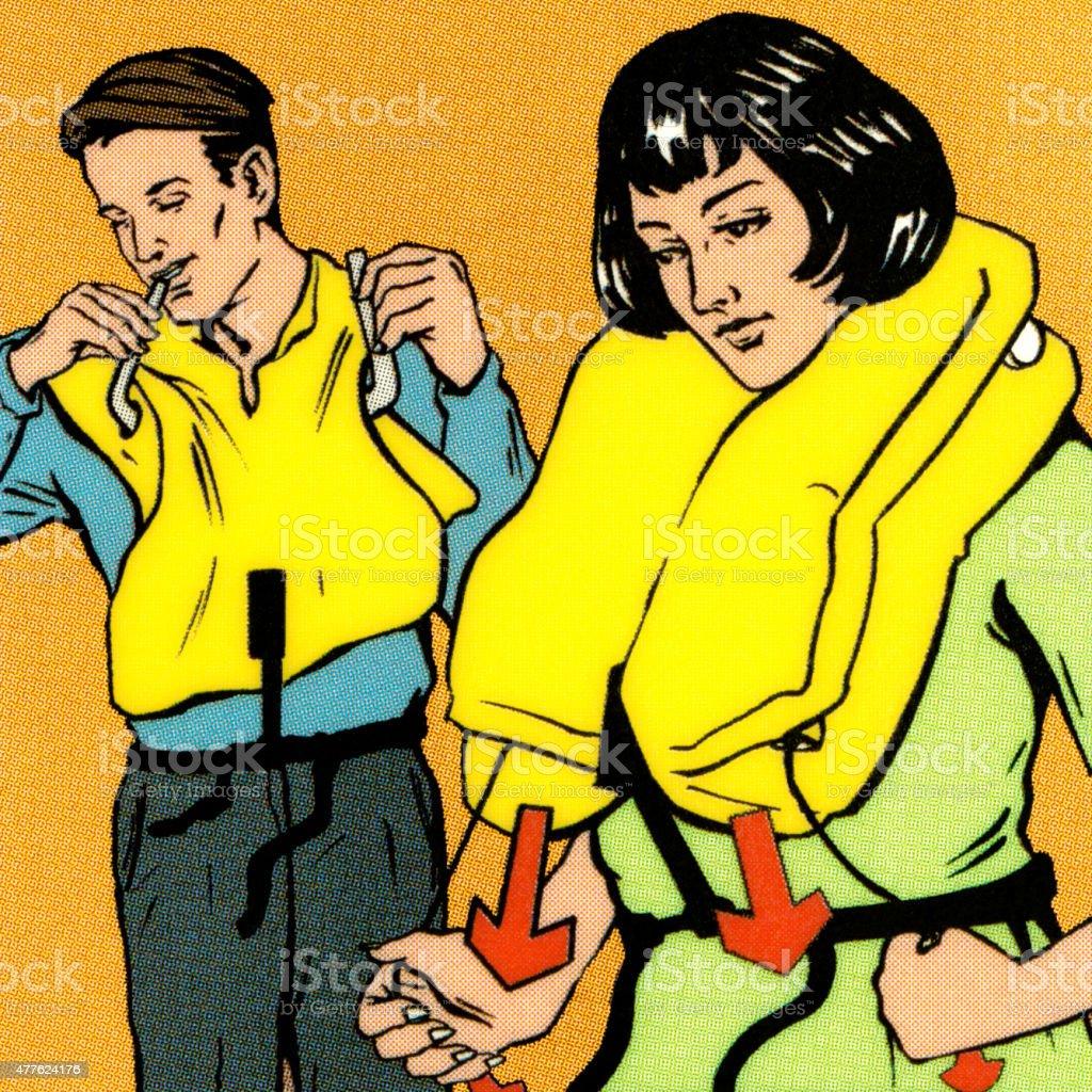 Couple Putting on Life Vest vector art illustration
