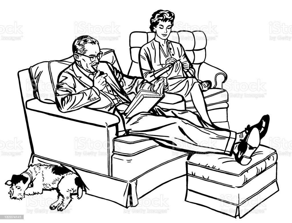 Couple Relaxing in Chairs royalty-free stock vector art
