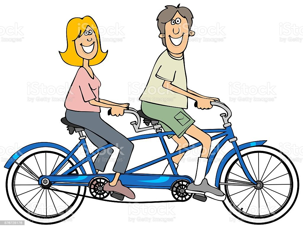 couple riding a blue tandem bicycle stock vector art more images rh istockphoto com wedding tandem bike clipart