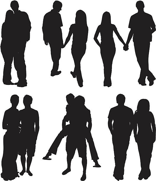 Couple romancing together Couple romancing together image technique stock illustrations