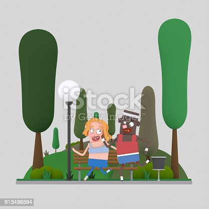 istock Couple running in the park 913496594