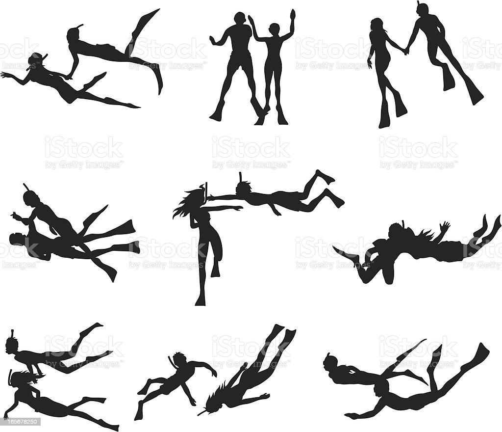 Couple snorkeling vector art illustration