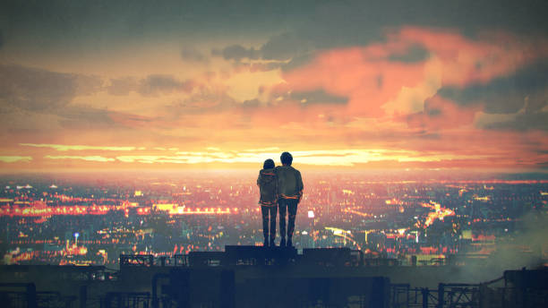 couple standing on the roof top young couple standing on the rooftop looking at cityscape at sunset, digital art style, illustration painting young couple stock illustrations