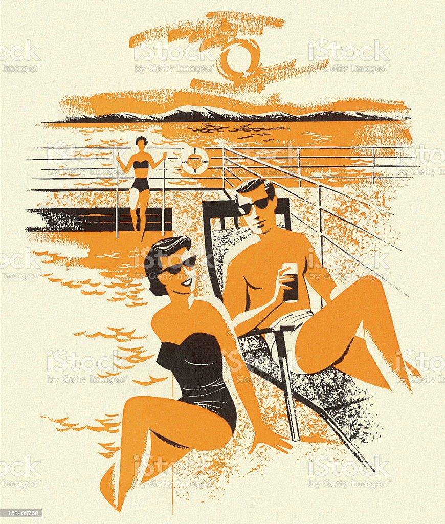 Couple Sunbathing vector art illustration