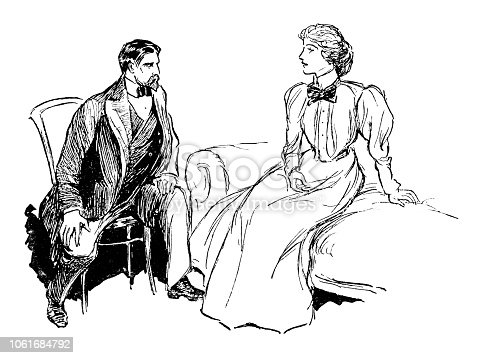 Couple talking - Scanned 1899 Engraving