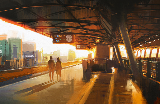 Train station stock illustrations