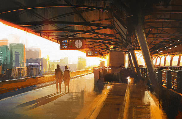couple waiting a train on the station vector art illustration