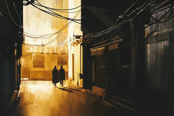 bildbanksillustrationer, clip art samt tecknat material och ikoner med couple walking in alley at night - gränd