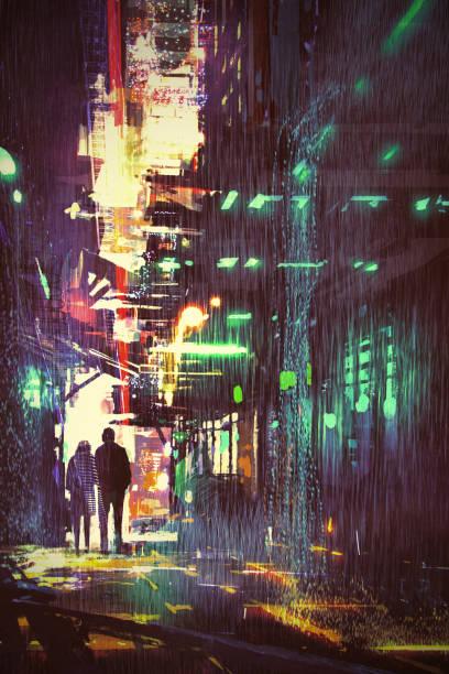 bildbanksillustrationer, clip art samt tecknat material och ikoner med par promenader i gränd på regnig natt - gränd