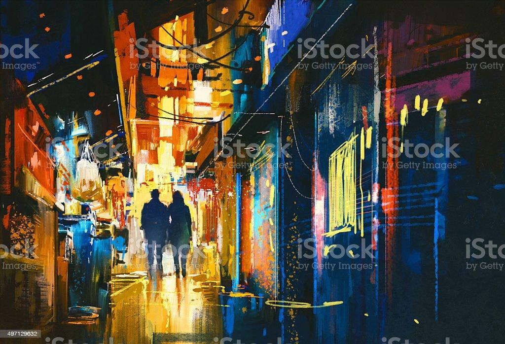 Casal caminhando na alley com luzes coloridas - ilustração de arte em vetor