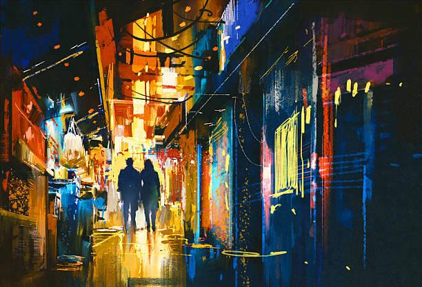 couple marchant dans la ruelle avec des lumières colorées - Illustration vectorielle