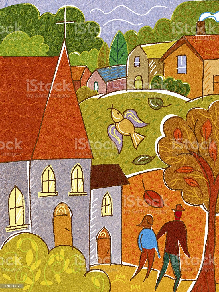 couple walking together through town royalty-free stock vector art
