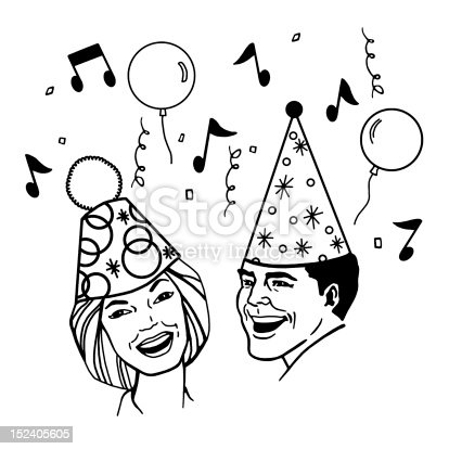 Couple Wearing Party Hats