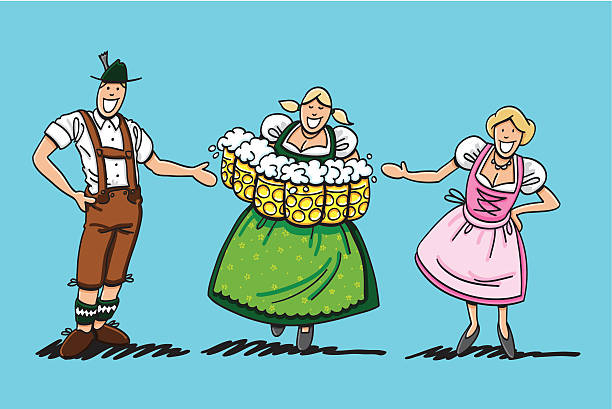 "Couple Welcomes Oktoberfest Beer Waitress ""Sketchy vector illustration of a happy couple in Dirndl and Lederhosen, who are welcoming a Oktoberfest Waitress with many beer steins. Line art, color and background are on separate layers, so you also can use the illustration on your own background. The colors in the .eps-file are ready for print (CMYK). Included files: EPS (v8) and Hi-Res JPG."" doodle NOT black and white stock illustrations"