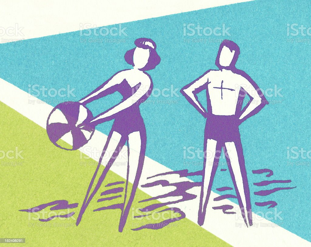 Couple With Beach Ball royalty-free stock vector art