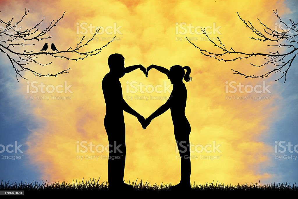 Couple with heart royalty-free couple with heart stock illustration - download image now