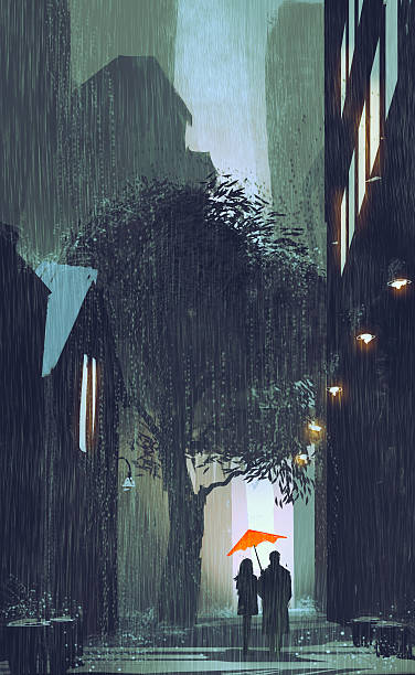 couple with red umbrella walking in raining street at night vector art illustration