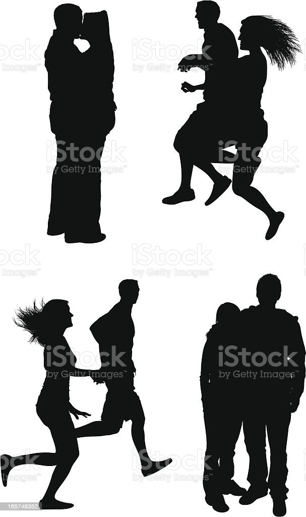 Couples being romantic vector art illustration