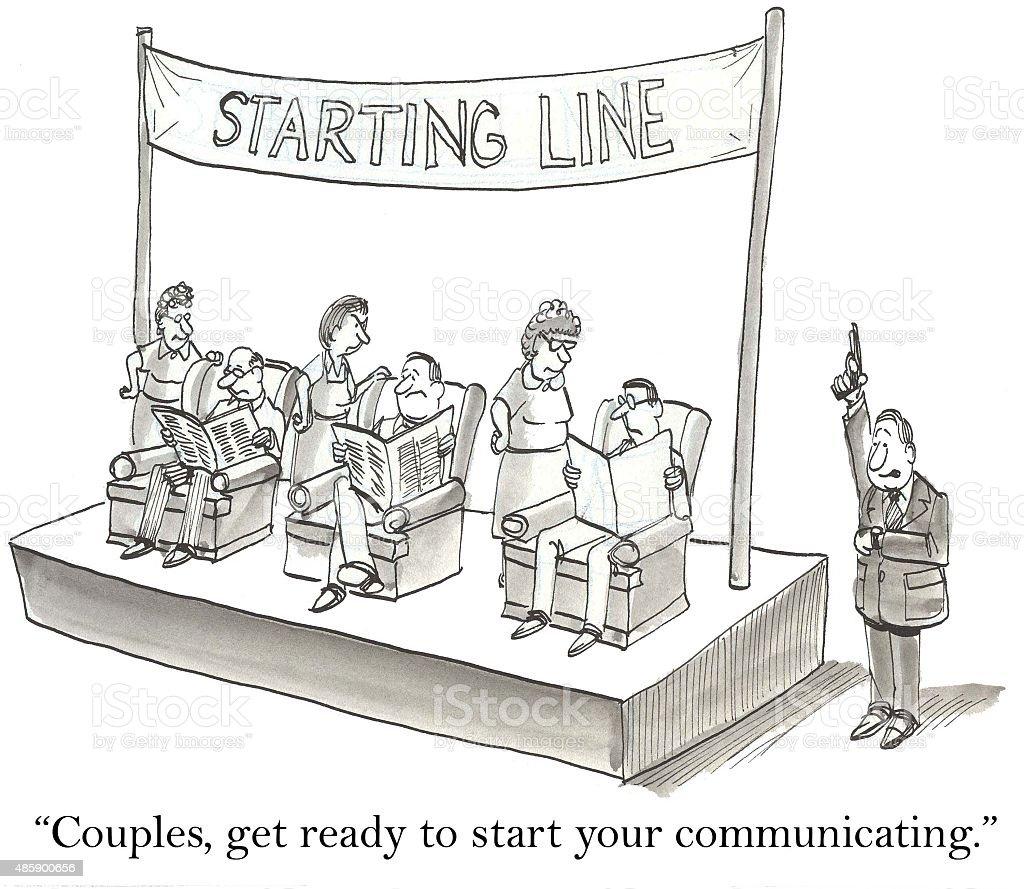 Couples Communicating vector art illustration