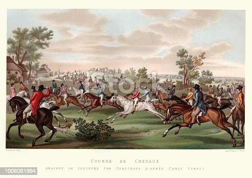 Vintage engraving of Course de Chevaux, Horse racing, France, late 18th Century early 19th Century. After Carle Vernet