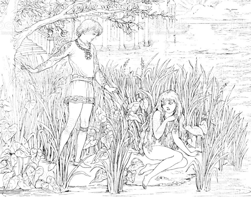 Cena de namoro da pequena sereia de Andersen - ilustração de arte em vetor