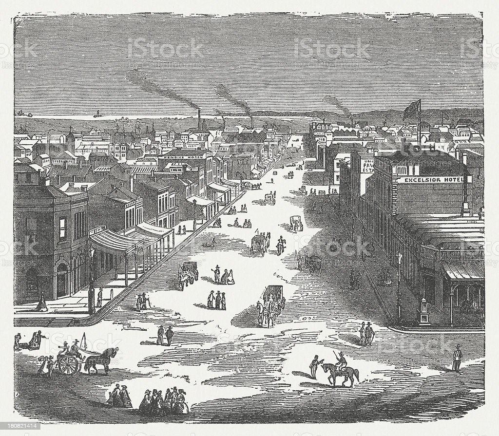 Courtstreet in Melbourne, Australia, wood engraving, published in 1872 royalty-free courtstreet in melbourne australia wood engraving published in 1872 stock vector art & more images of aerial view