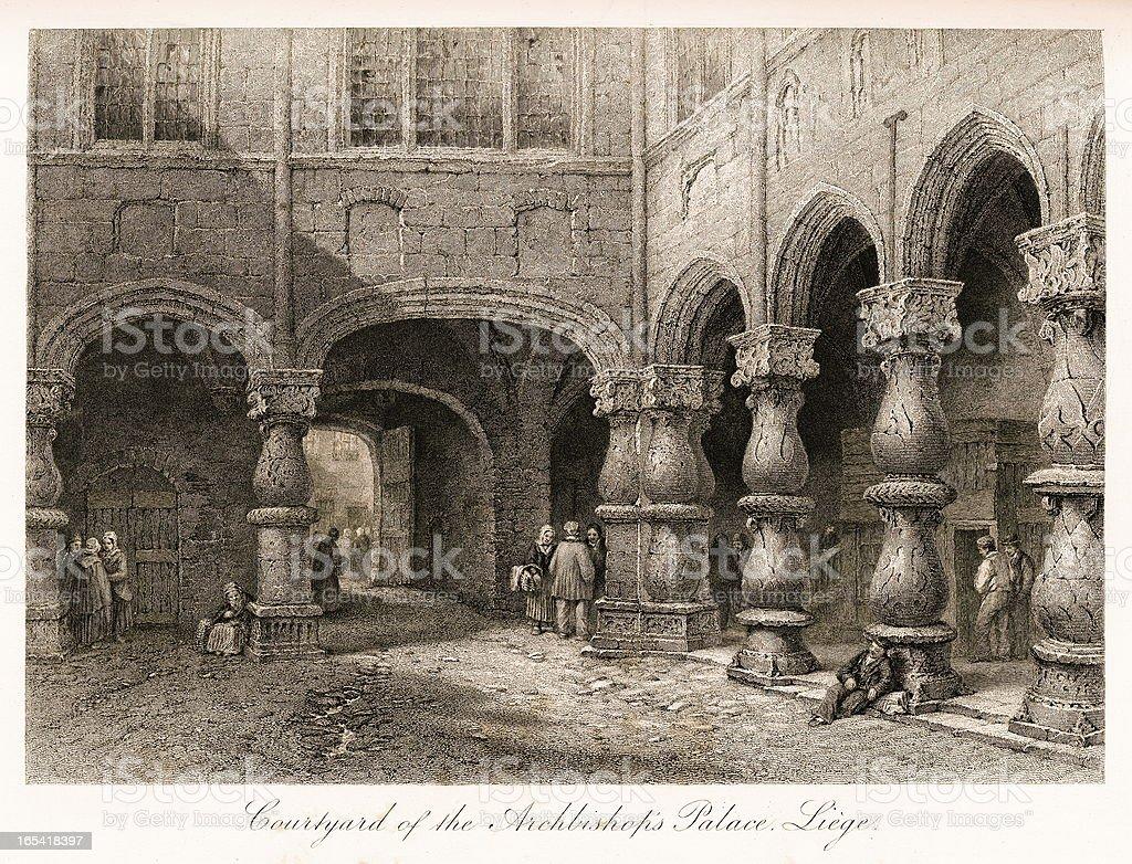 Courtyard of Prince-Bishops' Palace, Liege, Belgium royalty-free stock vector art