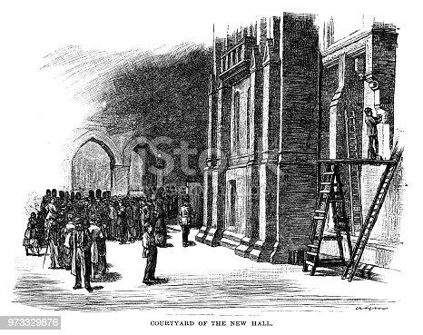 Courtyard of the New Hall - Scanned 1884 Engraving