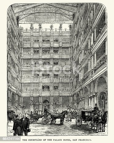 Vintage engraving of the Courtyard of the Palace Hotel, San Francisco 19th Century