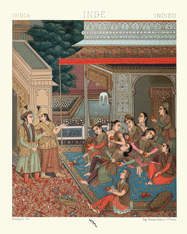 Vintage illustration of Courtyard of the Seraglio, Mughal Empire, 19th Century