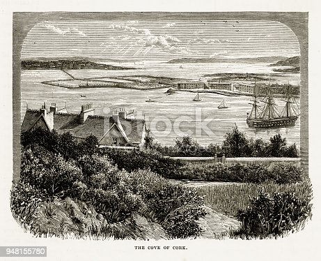 Very Rare, Beautifully Illustrated Antique Engraving of Cove of Cork, County Cork, Ireland Victorian Engraving, 1840. Source: Original edition from my own archives. Copyright has expired on this artwork. Digitally restored.