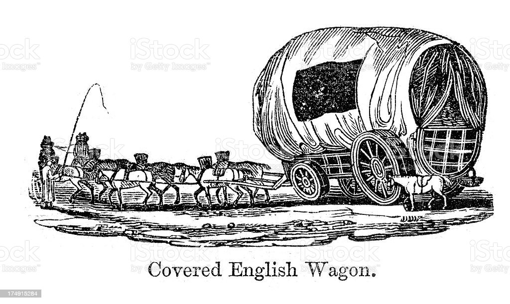 Covered English Wagon royalty-free covered english wagon stock vector art & more images of 19th century