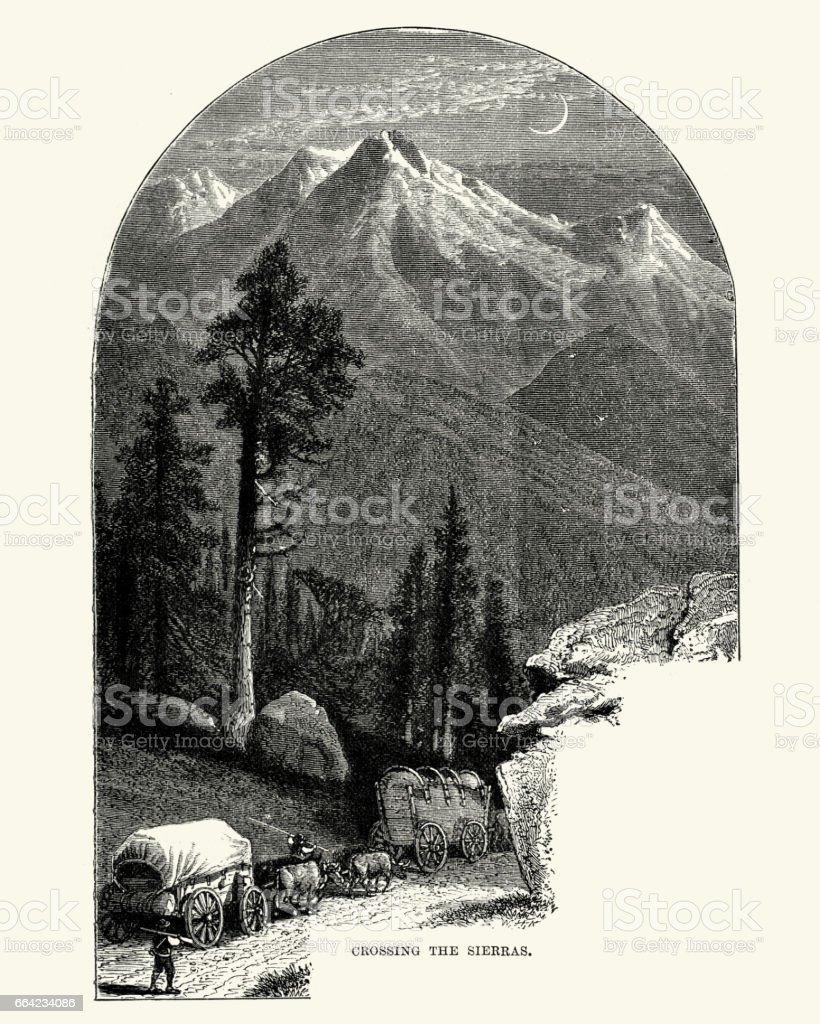 Covered wagons crossing the Sierra Nevada, 19th Century vector art illustration