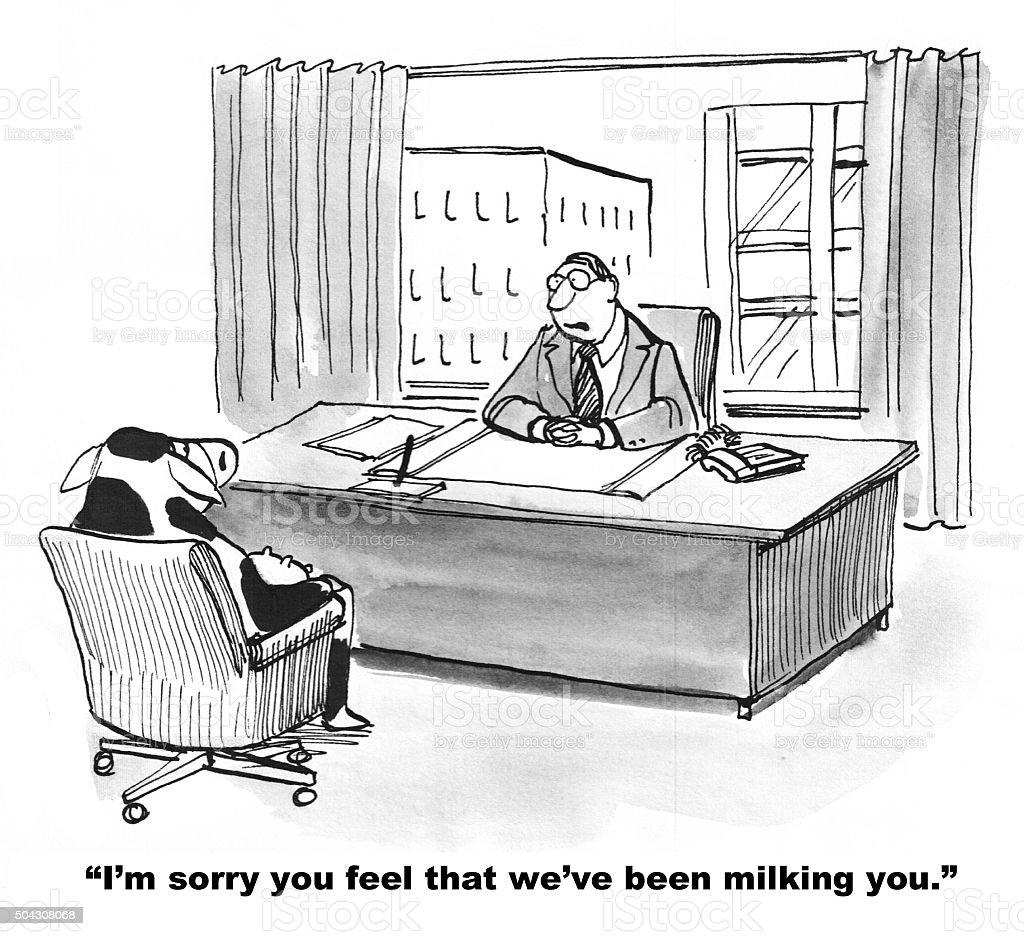 Cow Feels Milked vector art illustration