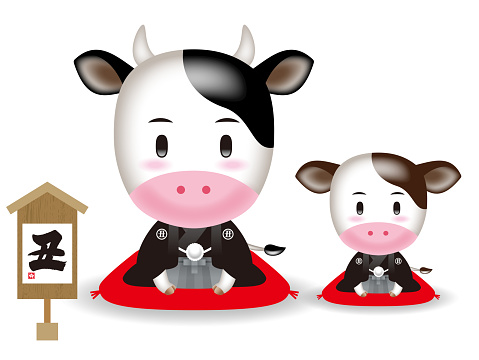 Cow illustration. / The twelve zodiac signs.