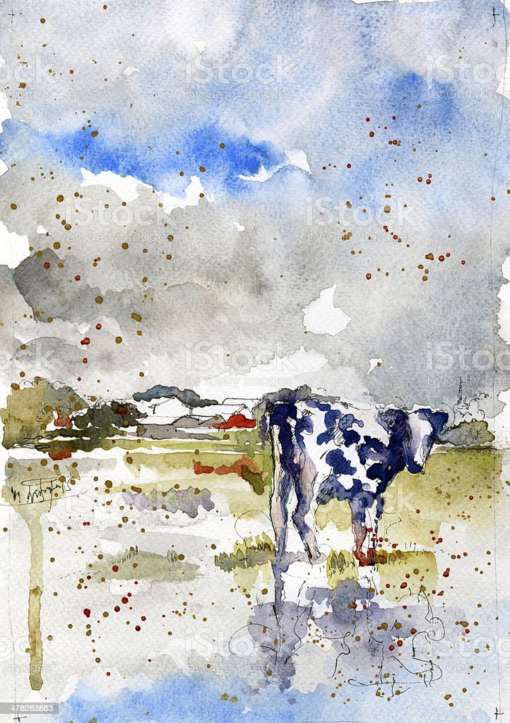 Cow in a field royalty-free cow in a field stock vector art & more images of agriculture