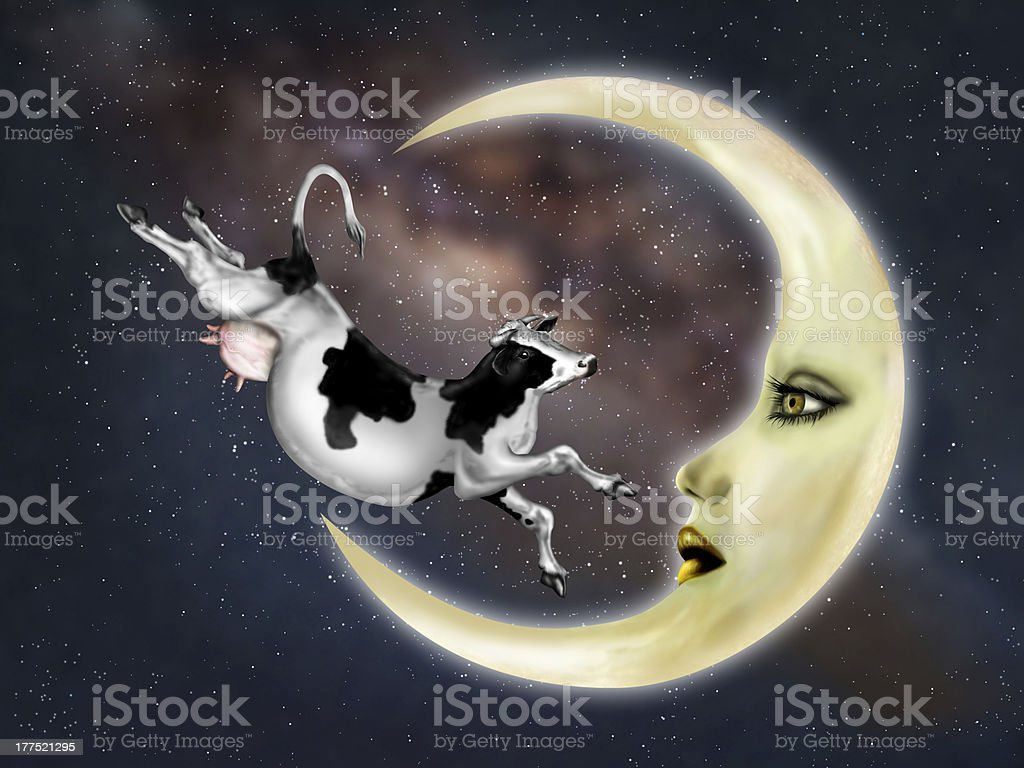 Cow Jumped Over The Moon vector art illustration
