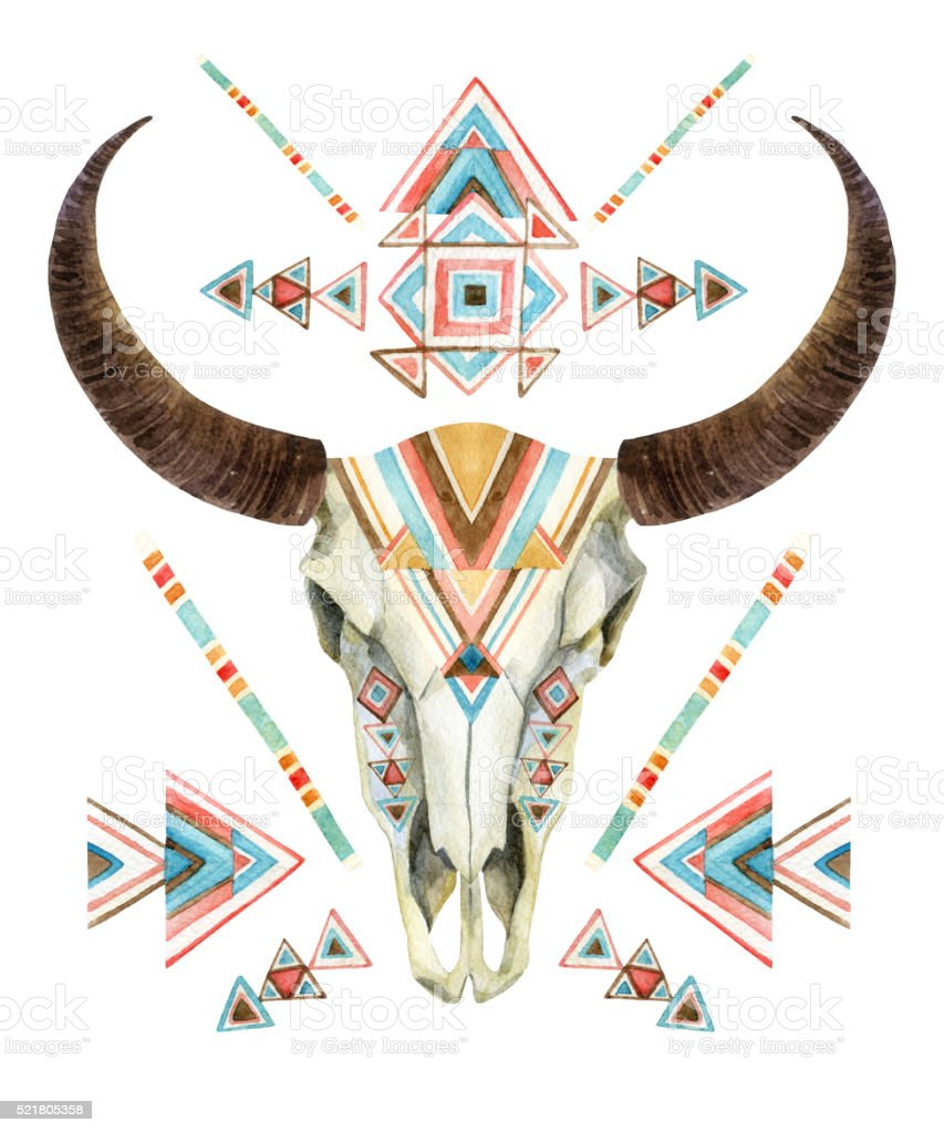 Cow skull in tribal style. Animal skull with ethnic ornament vector art illustration