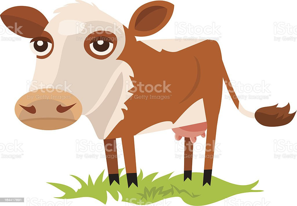 Cow Standing in Grass vector art illustration